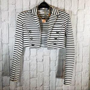 Women's White & Black Pinstripe Sailor Crop Blazer